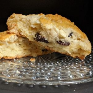 White Chocolate Cherry Scone broken